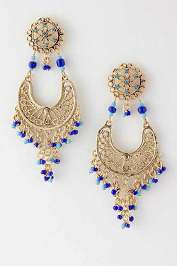M.H.W. ACCESSORIES ROYAL BLUE DANGLING EARRINGS