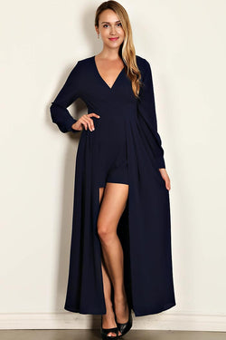 M.H.W. ACCESSORIES V-NECK SOLID ROMPER/MAXI DRESS