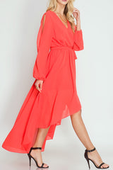M.H.W. ACCESSORIES LONG SLEEVE WITH SLIT WAIST TIE DETAIL MAXI DRESS