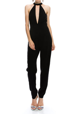 M.H.W. ACCESSORIES SOLID MOCK NECK DEEP V JUMPSUIT