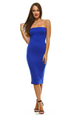 M.H.W. ACCESSORIES ROYAL BLUE SOLID TUB MIDI DRESS