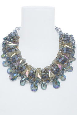 M.H.W. ACCESSORIES LAYERED CRYSTAL BEADED BIB NECKLACE SET