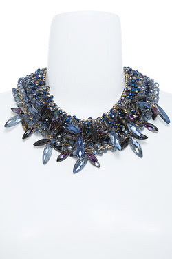 M.H.W. ACCESSORIES BLUE MARQUISE BEADED CRYSTAL NECKLACE SET