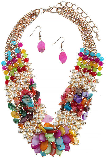 M.H.W. ACCESSORIES MULTI-COLOR MIXED BEADED FAUX PEARL NECKLACE SET