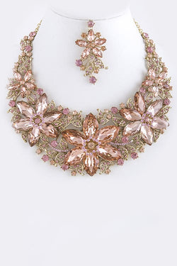 PRETTY IN PINK CRYSTAL NECKLACE SET