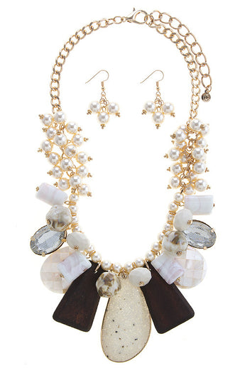 M.H.W. ACCESSORIES CREAM MIXED CHUNKY BEADED BIB NECKLACE SET