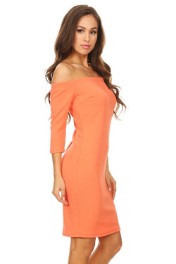 M.H.W. ACCESSORIES ORANGE CRUSH BODY CON DRESS