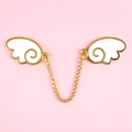 Angel Wings Pin – Gold and White