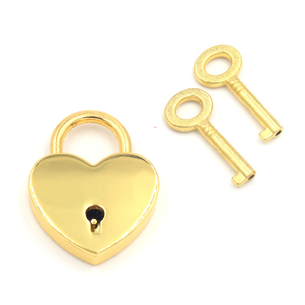 Gold Classic Heart Padlock - Personalized BDSM Padlock
