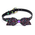 Restrained Grace Collar The Glitter Bow Mini Collar in Black & Iridescent Rainbow