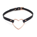 Restrained Grace Collar The Vegan Faux Leather Large Heart Ring Mini Collar in Black & Rose Gold