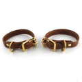 Restrained Grace Cuffs Gold The Petite Leather Cuffs in Cognac Brown