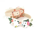 Restrained Grace Cuffs The Lovely Jen Floral Bow Petite Leather Cuffs in Cream