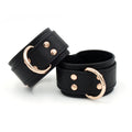 Restrained Grace Cuffs The Vegan Faux Leather Bold Bondage Cuffs in Black & Rose Gold