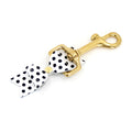 Restrained Grace Key Chain Gold The Leather Bow Clip Keychain in White and Black Polka Dot