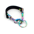Restrained Grace Key Chain The Vegan Faux Leather Hobble Key Chain in Black & Iridescent Rainbow