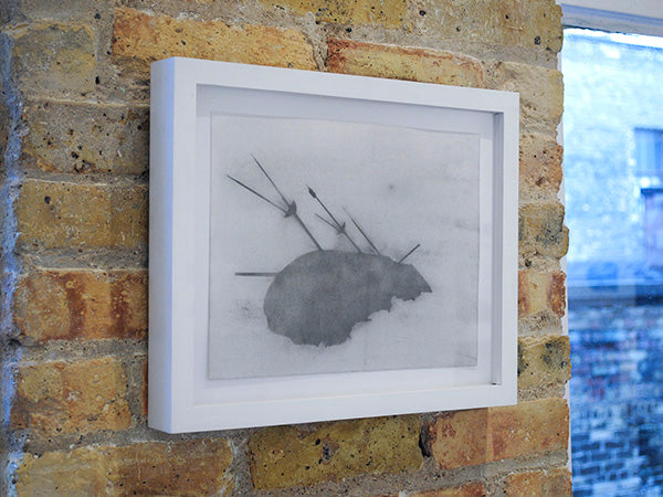 Framed drawing installed, and available for purchase, at Portrait Society Gallery, Milwaukee