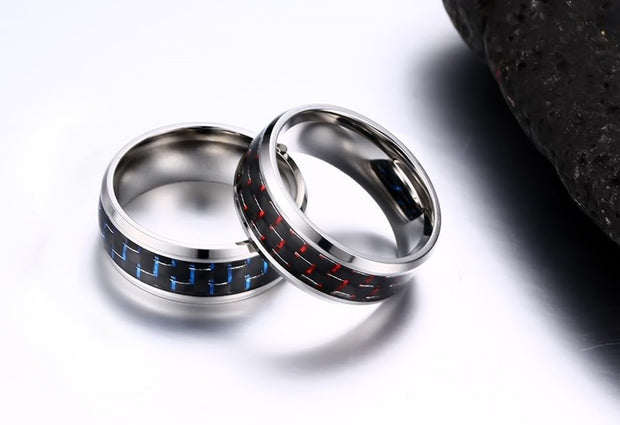 FREE Plus Shipping - Men's Blue & Red Color Carbon Fiber Stainless Steel Wedding Rings
