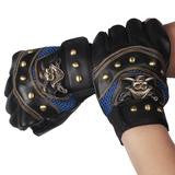 Leather Half Fingers Pirate Skull Motorcycle Gloves