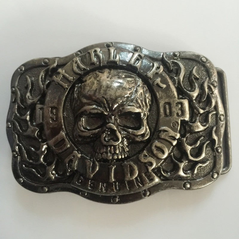 New Style Plated Silver Skull Belt Buckle