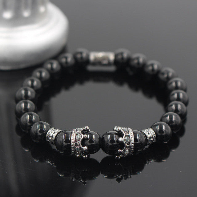 FREE PLUS SHIPPING Matte Onyx Stone Bead Bracelet For Men