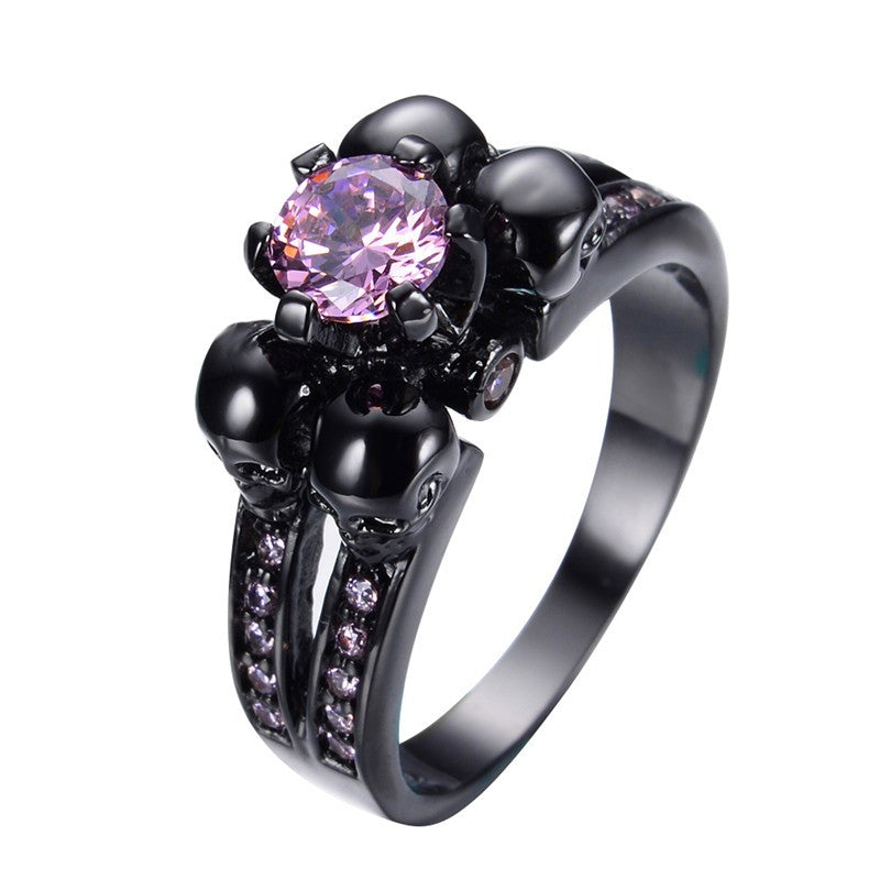 Vintage Pink Stone Skull Ring Jewelry For Women/Men