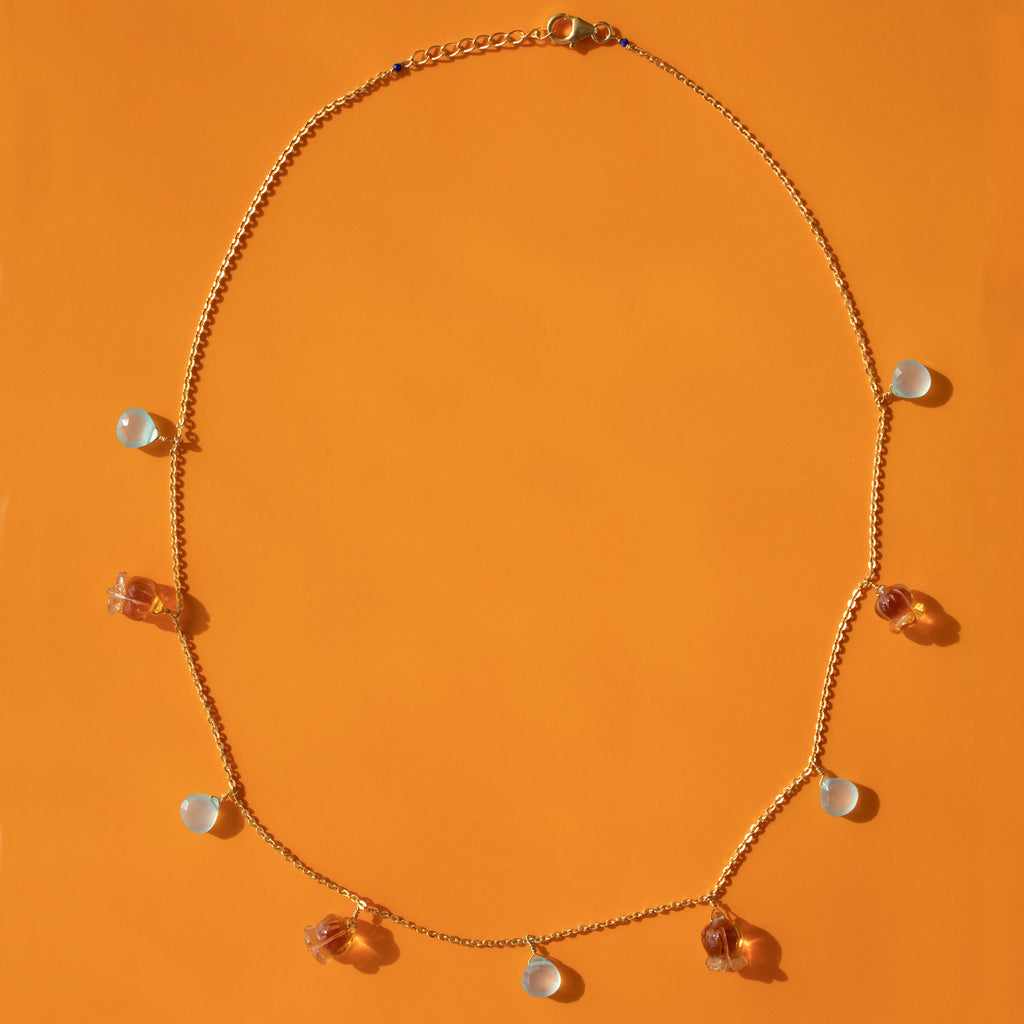 Chalcedony and Citrine Necklace
