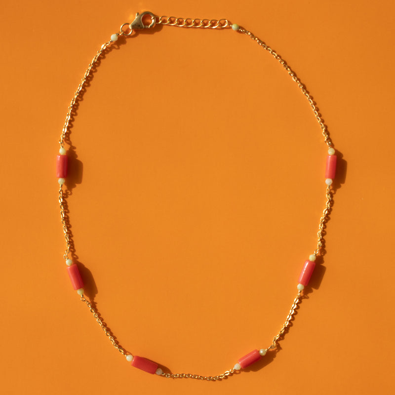 Coral Pipe & Green Opal Necklace