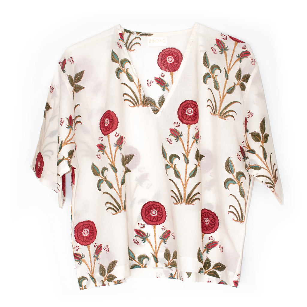 Kyo Top | White Hibiscus