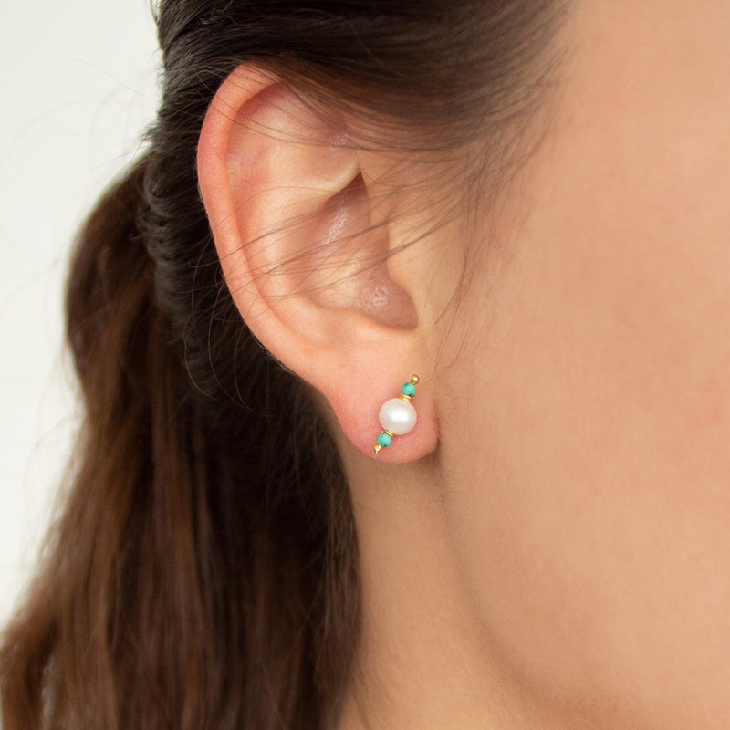 Mithaee Studs | Tiny Pearl + Turquoise