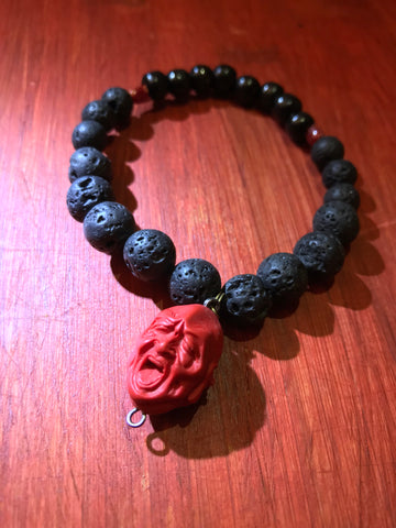 TWO FACED LAVA BEADED BRACELET