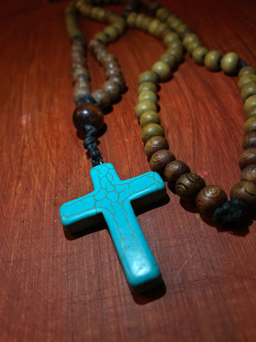 BEADED NECKLACE W/ TURQUOISE CROSS