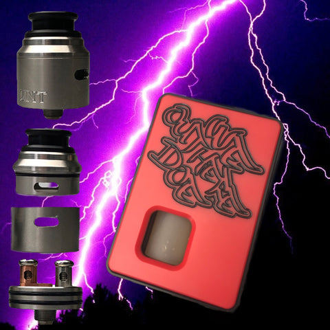 FULL SET RED Dominus x Weoutheredoe Sqwonk box mod & RSA (REBUILDABLE SQWONKER ATOMIZER)