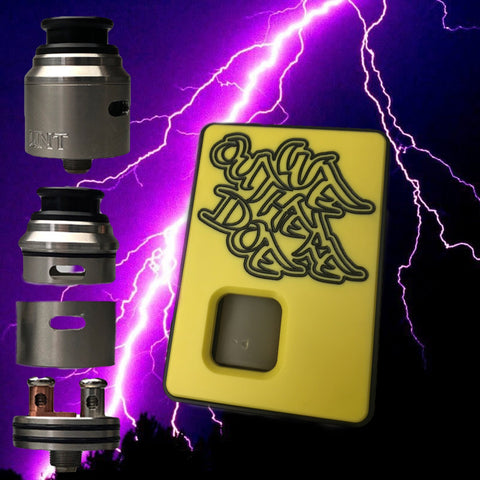 FULL SET YELLOW Dominus x Weoutheredoe Sqwonk box mod & RSA (REBUILDABLE SQWONKER ATOMIZER)