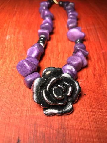 PURPLE STONES & SILVER ROSE NECKLACE