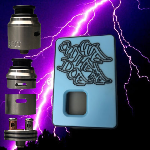 FULL SET BLUE Dominus x Weoutheredoe Sqwonk box mod & RSA (REBUILDABLE SQWONKER ATOMIZER)