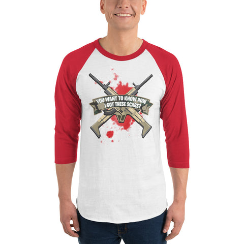 COME CATCH THESE SCARS 3/4 sleeve baseball T-shirt