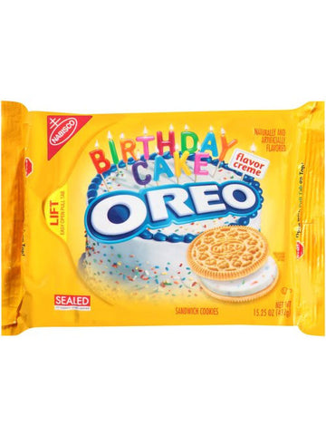 Oreo Golden Birthday Cake Flavor Creme Sandwich Cookies