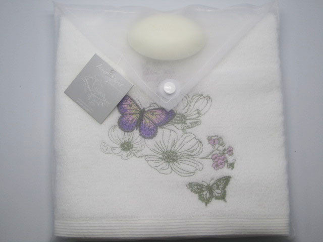 Nature Garden Butterfly Hand Towel & Soap Gift Set
