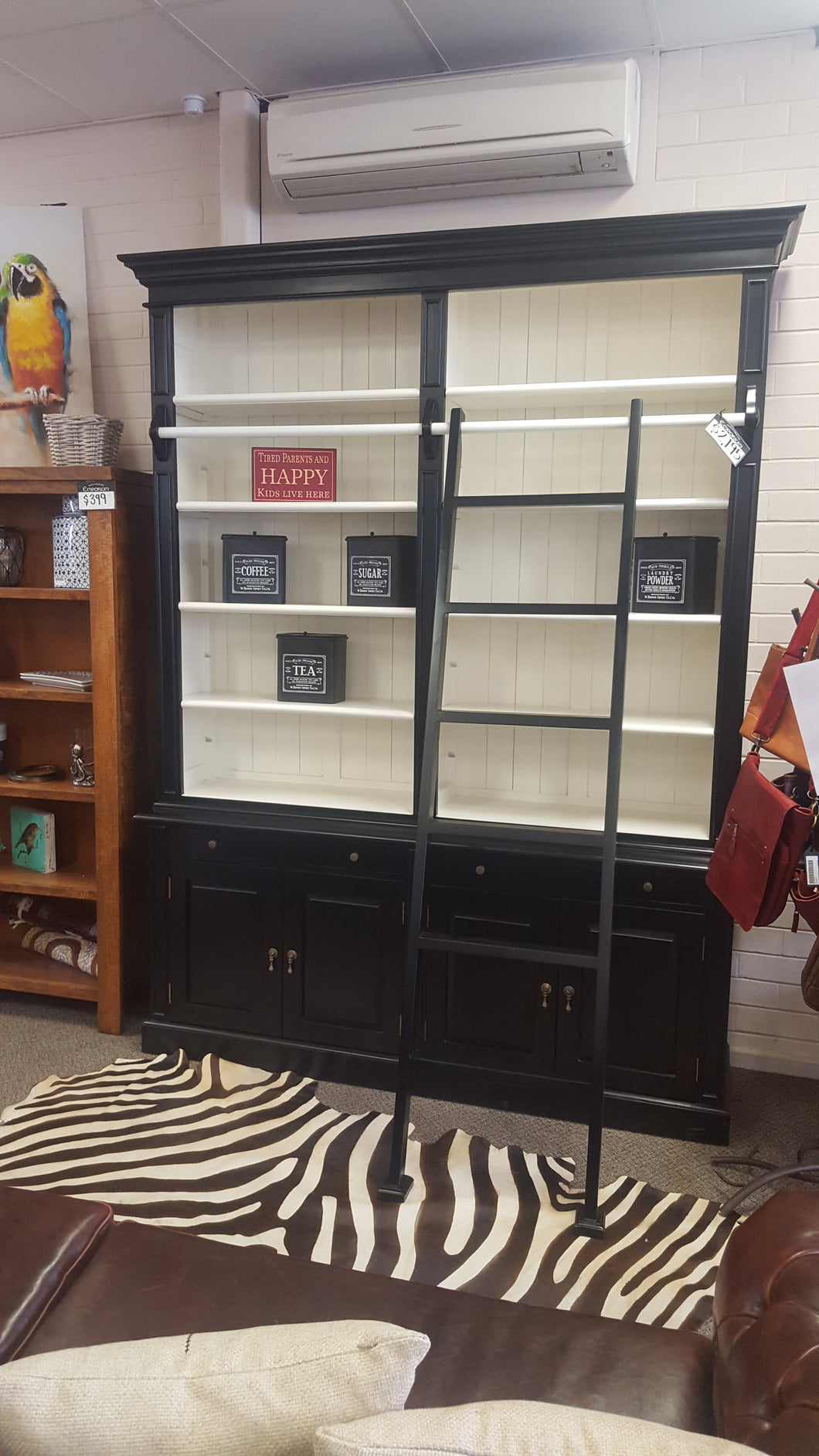 2 Bay Library Bookcase Black White Perth Furniture Emporium