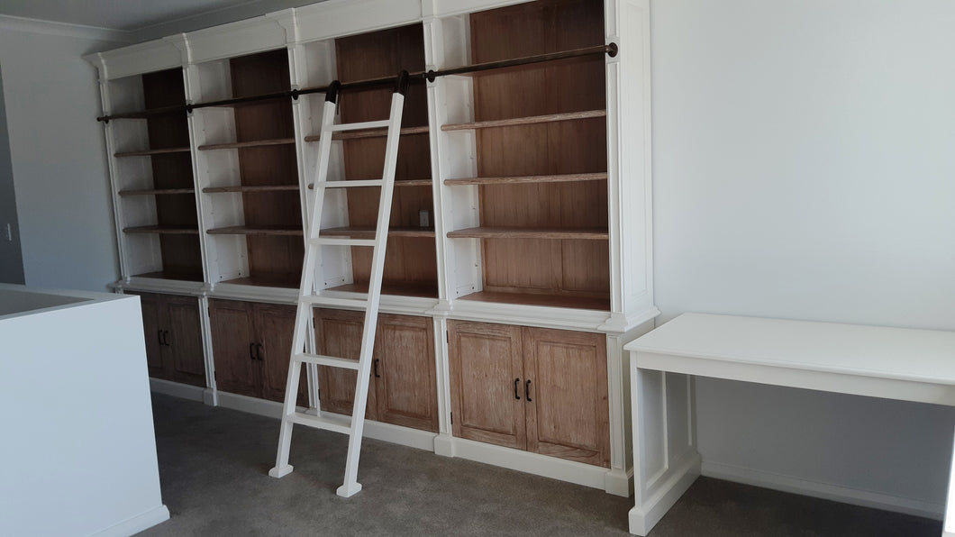 4 bay custom Library antique white and white wash with ladder