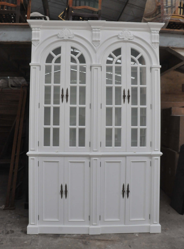 2 Bay double arch glass door cabinet