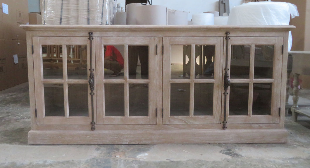 Grey wash glass door buffet