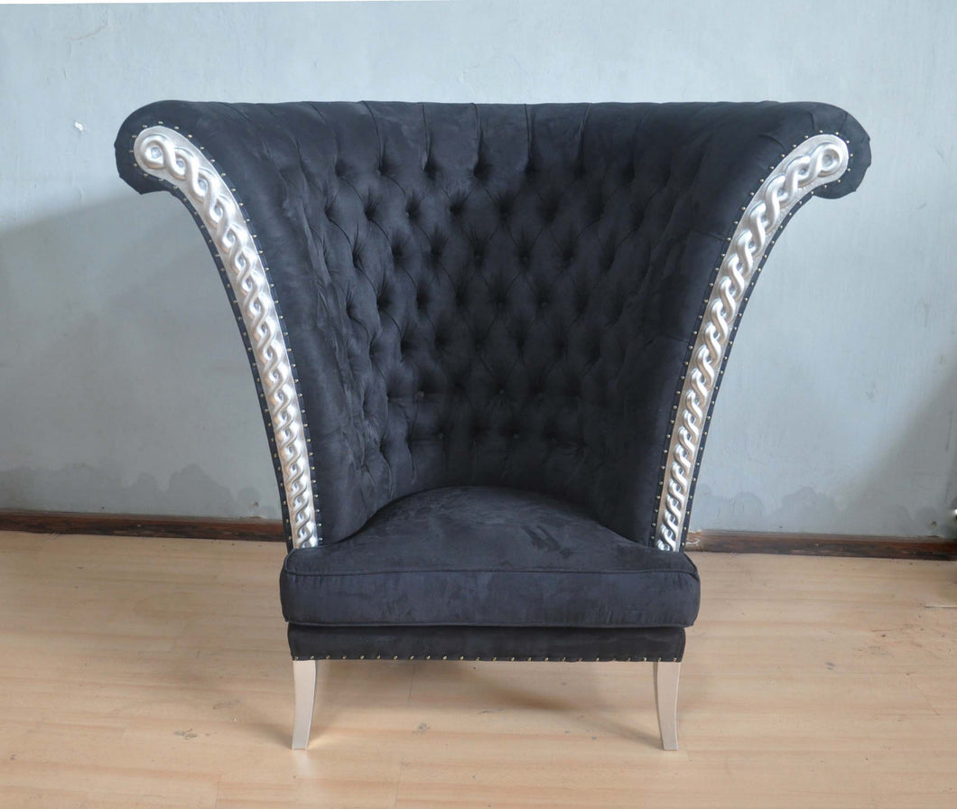 Maharaja Chair Black Velvet and Silver