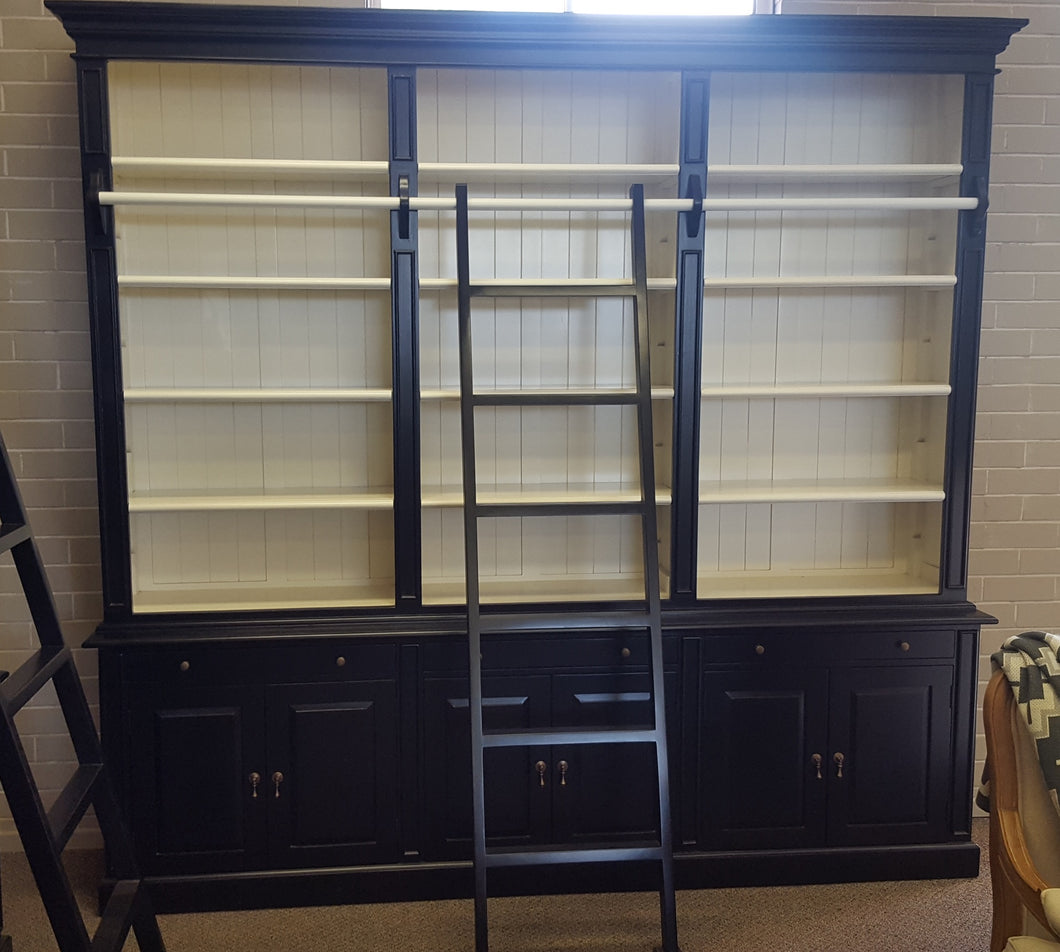3 Bay Library bookcase with ladder  black/white