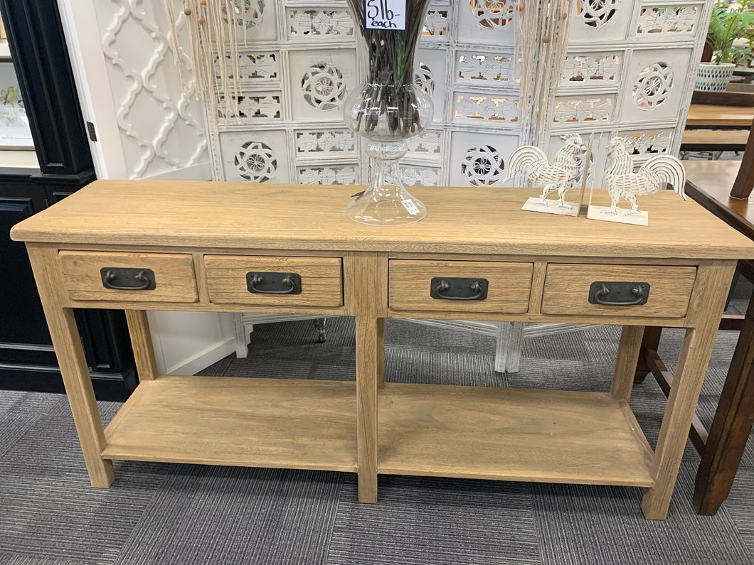 Country 4 Draw Hall Table Natural