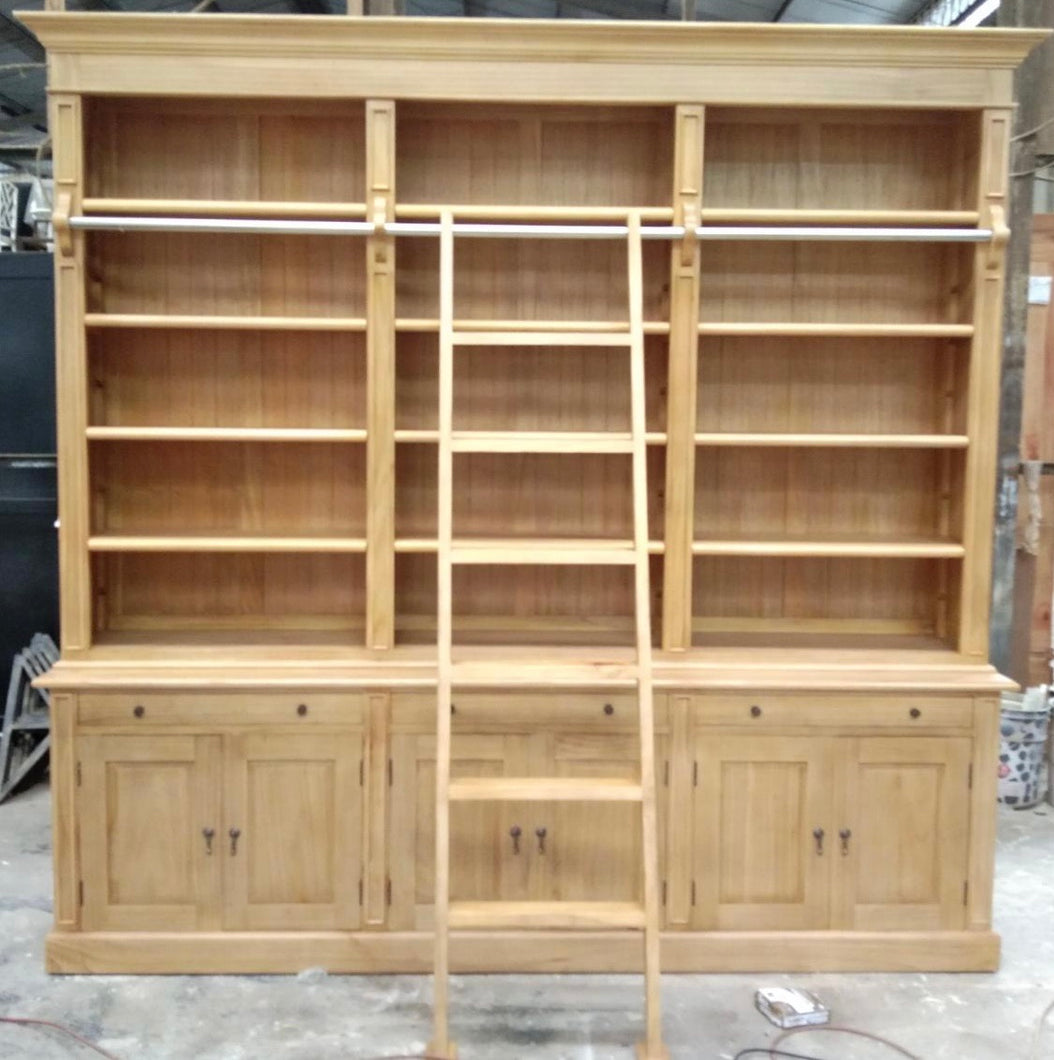 Library Bookcase with Ladder 3 Bay Light Timber Stain