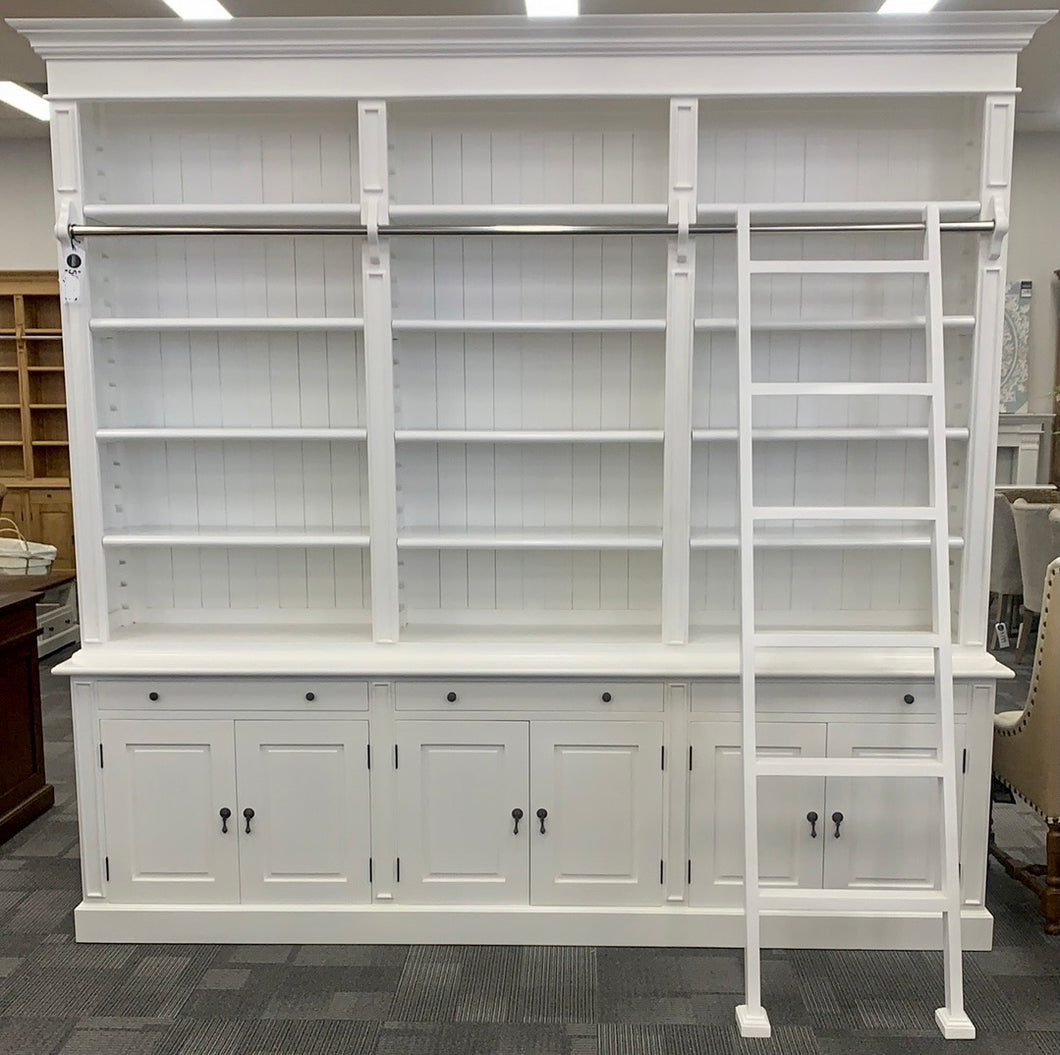 Hampton Library Bookcase with Ladder 3 Bay Pure White