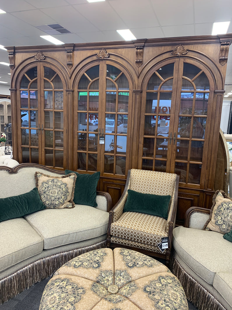 American two toned glass arched bookcase