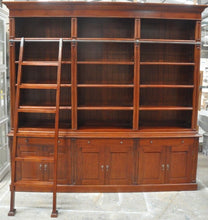 Library Bookcase with Ladder 3 Bay Jarrah Stain